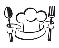 Chef hat, spoon and fork. Monochrome chef hat with spoon and fork vector illustration