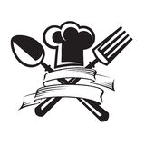 Chef hat with spoon and fork. Monochrome image of chef hat with spoon and fork Stock Photography