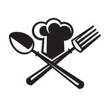 Chef hat with spoon and fork. Monochrome image of chef hat with spoon and fork Stock Images