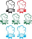 Chef hat, spoon and fork. Vector icons with a chefs hat, a fork, a spoon and a mustache Stock Image