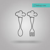 Chef Hat on spoon and fork vector illustration. On grey background Stock Photo