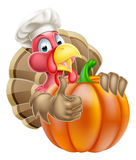 Chef Hat Thanksgiving Turkey and Pumpkin Royalty Free Stock Images