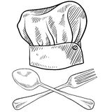Chef hat and utensils drawing Royalty Free Stock Photo