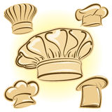 Chef hat vector icon set Royalty Free Stock Photos