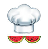 Chef hat with watermelons mustache isolated on white Stock Photography