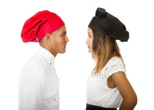 Chef head fight Royalty Free Stock Images