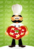 Chef with heart pizza Stock Photography