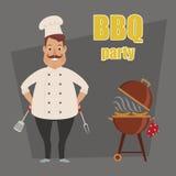 Chef heureux préparant le barbecue Images libres de droits