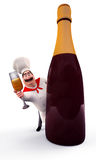 Chef hiding behind wine bottle Royalty Free Stock Images