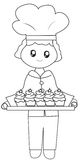 The chef his baked cupcakes coloring page Royalty Free Stock Images