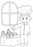 The chef with his cupcakes coloring page Royalty Free Stock Photos