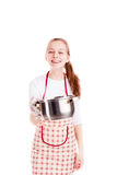 Chef hold pan  Royalty Free Stock Photos