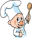 Chef hold wooden spoon Stock Images