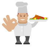 Chef holding baked fish Royalty Free Stock Images