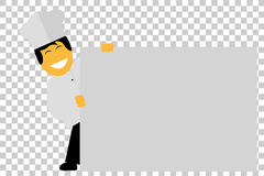 Chef Holding a Big Blank Paper, at transparent effect background. Vector Chef Holding a Big Blank Paper, at transparent effect background Stock Photography