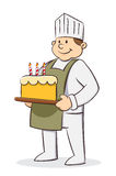 Chef holding birthday cake Stock Images