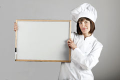 Chef Holding Blackboard Royalty Free Stock Photo