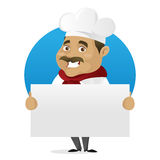 Chef holding blank sign Stock Image