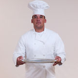 Chef Holding Blank Tray Stock Image