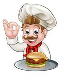 Chef Holding Burger. A cartoon character chef holding a cheese burger on a plate and doing a perfect gesture Stock Images