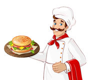 Chef holding burger. Chef holding burger on a tray.  character on white background. Man serving in a restaurant, cafe Stock Photos