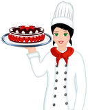 Chef holding cake. Illustration of a pastry chef carrying a plate with cake Royalty Free Stock Image