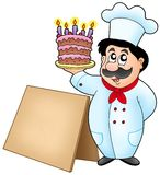 Chef holding cake with wooden table royalty free illustration