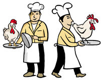 Chef holding a chicken Royalty Free Stock Images