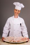 Chef Holding Chicken Platter Royalty Free Stock Images