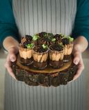 Chef holding chocolate dessert with blackberry. Chef holding wooden tray with chocolate dessert topped with cream, blackberry and mint leaves stock image