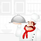 Chef holding Cloche Stock Photo