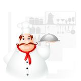 Chef holding Cloche Stock Images