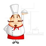 Chef holding Cloche Royalty Free Stock Image