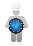 Chef holding a clock. Cooking time concept Royalty Free Stock Image