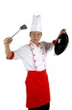 Chef holding cooking utensils. Isolated on white Stock Image