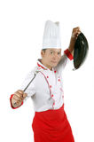 Chef holding cooking utensils. Isolated on white background Royalty Free Stock Photography