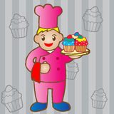 Chef holding a cupcake. Illustration of chef holding a cupcake Stock Photo