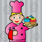 Chef holding a cupcake. Illustration of chef holding a cupcake Royalty Free Stock Photography