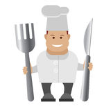 Chef holding cutlery Stock Photo