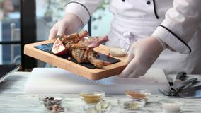 Chef holding food. stock video footage