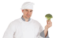 Chef holding fresh calabresse Royalty Free Stock Images