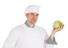 Chef holding fresh lettuce Stock Photos