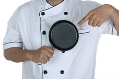 Chef  holding frying pan Stock Photos