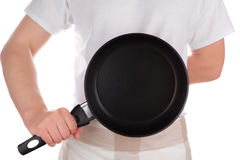 Chef holding frying pan. Stock Images