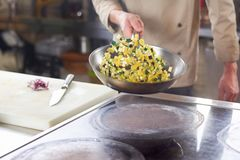 Chef holding frying pan with sliced vegetables. Royalty Free Stock Photography
