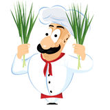 Chef holding green onion Stock Photography