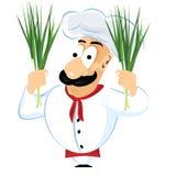 Chef holding green onion stock illustration