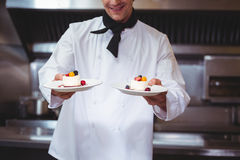 Chef holding his dish Stock Images