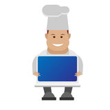 Chef holding laptop Royalty Free Stock Images