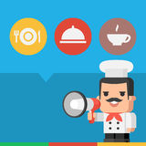 Chef holding megaphone concept Stock Photography